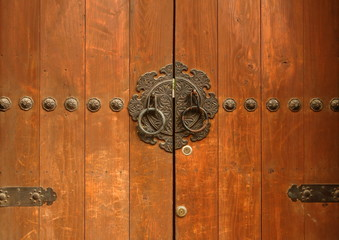 Antique Korean Style Traditional Wooden Main Door, Gate with Steel Plate Engraving, Seoul, Korea
