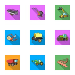 Set of pictures about agricultural machinery. Cars to robots to the ground.Agricultural Machinery icon in set collection on flat style vector symbol stock illustration.