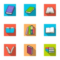 A set of pictures with books. Books, notebooks, studies. Books icon in set collection on flat style vector symbol stock illustration.