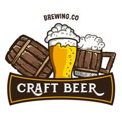 Original vintage retro line art badge logo design template for beer house