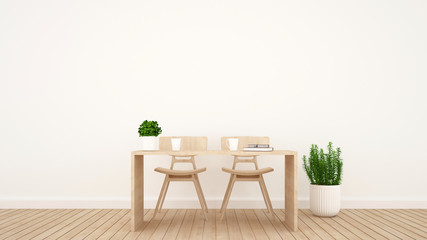 dining area or workspace in living room or coffee shop - 3D Rendering