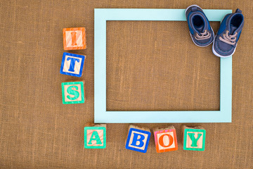 Its A Boy photo frame with baby shoes