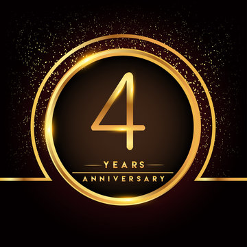 four years birthday celebration logotype. 4th anniversary logo with confetti and golden ring isolated on black background, vector design for greeting card and invitation card.