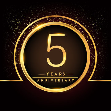 five years birthday celebration logotype. 5th anniversary logo with confetti and golden ring isolated on black background, vector design for greeting card and invitation card.