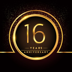 sixteen years birthday celebration logotype. 16th anniversary logo with confetti and golden ring isolated on black background, vector design for greeting card and invitation card.