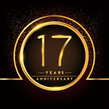 seventeen years birthday celebration logotype. 17th anniversary logo with confetti and golden ring isolated on black background, vector design for greeting card and invitation card.