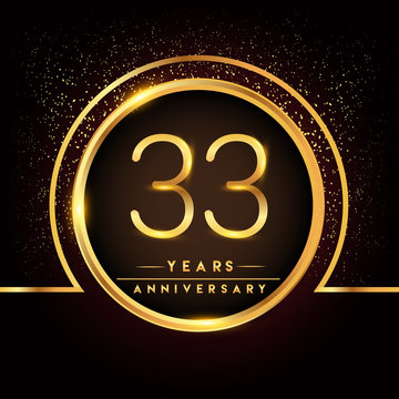 thirty three years birthday celebration logotype. 33rd anniversary logo with confetti and golden ring isolated on black background, vector design for greeting card and invitation card.