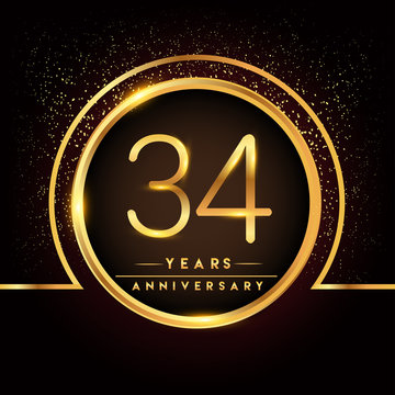 thirty four years birthday celebration logotype. 34th anniversary logo with confetti and golden ring isolated on black background, vector design for greeting card and invitation card.
