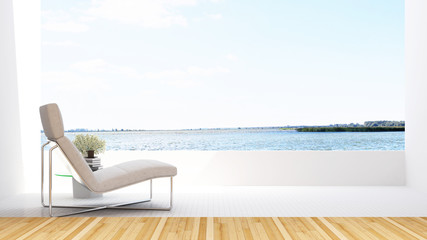 daybed on terraceand lake view in hotel - 3D Rendering