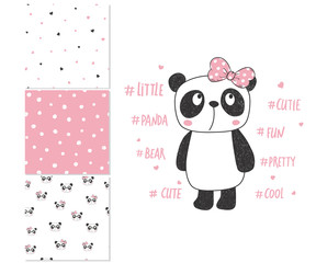 Cute little panda. Surface design and 3 seamless patterns