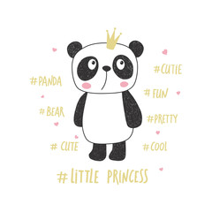 Little panda princess. Nursery vector illustration