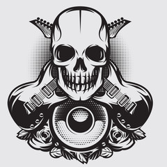Vector illustration on a theme of rock music with skull, speaker and guitars