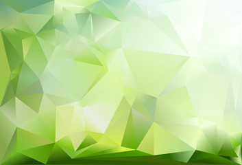 Abstract triangle background. Dark green, light green and white colour.