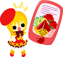 A cute girl and a smart phone of carnations