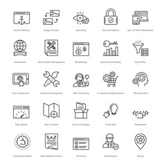 Web and SEO Line Vector Icons 22
