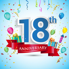 18th Years Anniversary Celebration Design, with gift box and balloons, Red ribbon, Colorful Vector template elements for your eighteen birthday celebrating party.