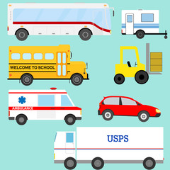 A set of transport. Bus, school bus, ambulance, truck, trailer