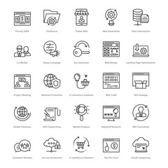 Web and SEO Line Vector Icons 45