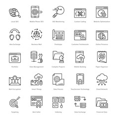 Web and SEO Line Vector Icons 46