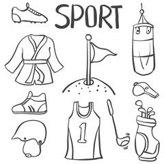 Sport equipment hand draw doodles