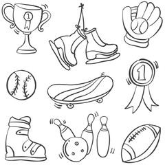 Collection sport equipment doodle hand draw