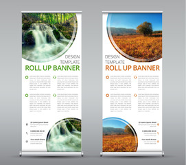 Template of a vertical roll up banner for business or travel.