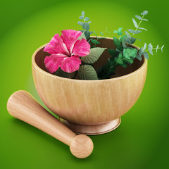 Mortar, pestle and flower isolated on green background. 3D illustration