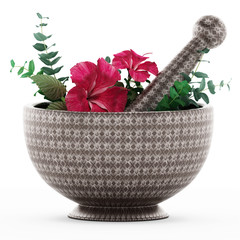 Mortar, pestle and flower isolated on white background. 3D illustration