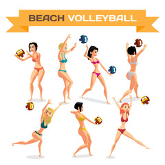 Set of young women playing beach volleyball in bikinis. Girl jumping for the ball. Vector flat cartoon illustration isolated on a white background