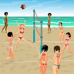 Girls playing volleyball on the beach. Women in bikinis. Start the game, the girl attack. Flat cartoon vector illustration.