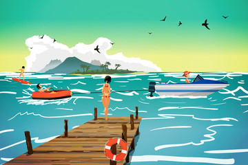 Sea landscape summer beach. Motor boat pulls a banana in tow. The girl is standing on a wooden pier. Vector flat cartoon illustration.