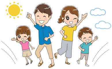 元気な家族のイラスト(夏)