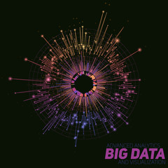 Wall Mural - Vector abstract colorful round big data visualization. Futuristic infographics design. Visual information complexity. Intricate data threads graphic. Social network, business analytics representation