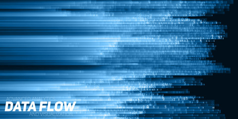 Fotoväggar - Vector abstract big data visualization. Blue flow of data as numbers strings. Information code representation. Cryptographic analysis. Bitcoin, blockchain transfer. Stream of encoded data.