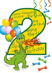 buon compleanno bambino numero 2 con draghetto