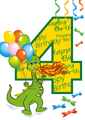buon compleanno bambino numero 4 con draghetto