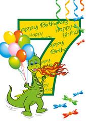 buon compleanno bambino numero 7 con draghetto