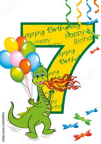 Buon Compleanno Bambino Numero 7 Con Draghetto Stock Image And