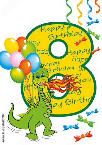 buon compleanno bambino numero 8 con draghetto