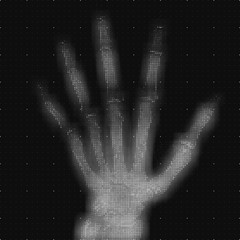 Vector grayscale abstract hand tomography analysis illustration. Digital palm x-ray scan. Medical data MRI visualization concept. Futuristic healthcare software HUD UI. Data driven image. Human hand