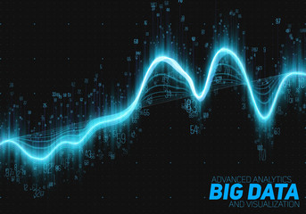 Fotoväggar - Vector abstract big data visualization. Futuristic infographics aesthetic design. Visual information complexity. Intricate data threads graphic. Social network or business analytics representation.