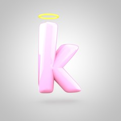 Cute angelic pink letter K lowercase with halo
