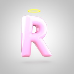 Cute angelic pink letter R uppercase with halo