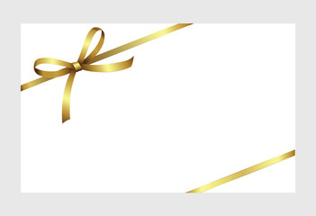 Gift certificate, Gift Card With Golden Ribbon And A Bow on white background.  Gift Voucher Template.  Vector image.