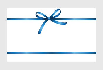 Gift certificate, Gift Card With Blue Ribbon And A Bow on white background.  Gift Voucher Template.  Vector image.