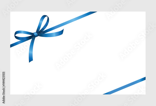 Gift Certificate, Gift Card With Blue Ribbon And A Bow On White