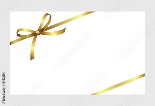 Gift certificate gift card with golden ribbon and a bow on white gift certificate gift card with golden ribbon and a bow on white background gift yelopaper Gallery