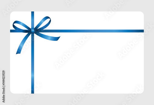 Gift Certificate Gift Card With Blueribbon And A Bow On White
