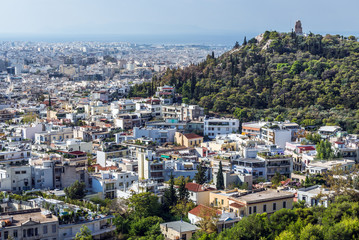 Aerial view with Musaios Hill from Acropolis hill in Athens, Greece