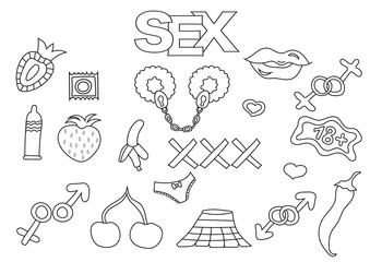 Sex and porn elements hand drawn set. Coloring book template.  Outline doodle elements vector illustration. Kids game page.